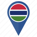country, flag, gambia, marker, navigation, pin, the icon
