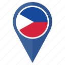 country, flag, location, navigation, philippinesa, pin, the icon