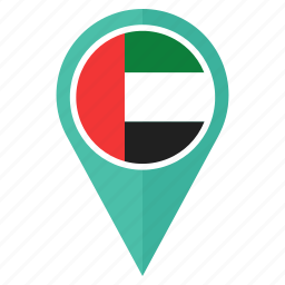 country, flag, location, nation, pin, the united arab emirates icon