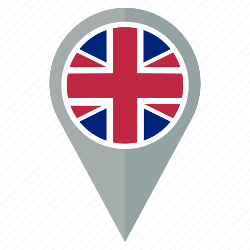 flag, location, national, navigation, pin, the united kingdom icon