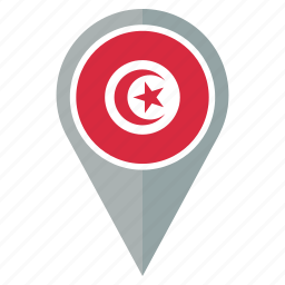 country, flag, location, nation, navigation, pin, tunisia icon