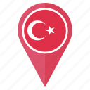 country, flag, nation, national, navigation, pin, turkey icon