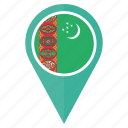 country, flag, location, map, pin, turkmenistan icon