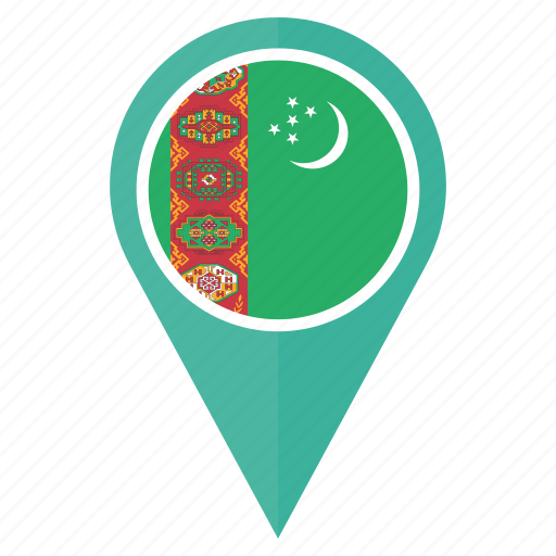 Country flag location map pin turkmenistan icon Icon search