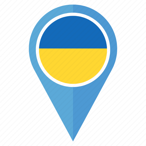 country, flag, location, map, navigation, pin, ukraine icon
