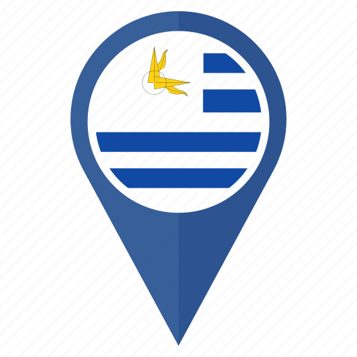 country, flag, location, nation, navigation, pin, uruguay icon