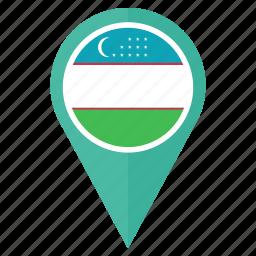 country, flag, location, nation, navigation, pin, uzbekistan icon