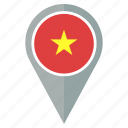 flag, vietnam, pin, country, location, navigation