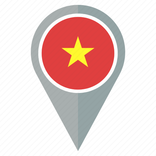 country, flag, location, navigation, pin, vietnam icon