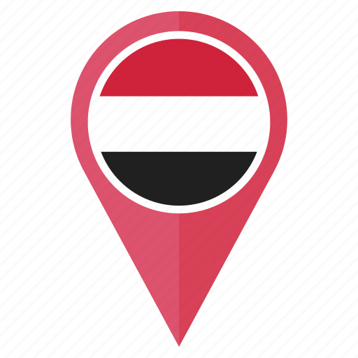 country, direction, flag, location, navigation, pin, yemen icon