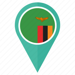 country, flag, location, map, navigation, pin, zambia icon