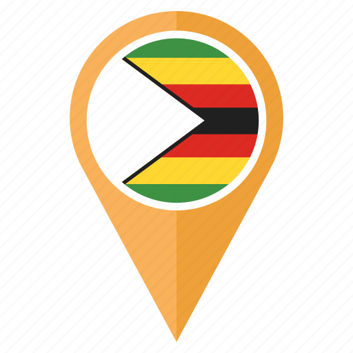 country, direction, flag, location, navigation, pin, zimbabwe icon