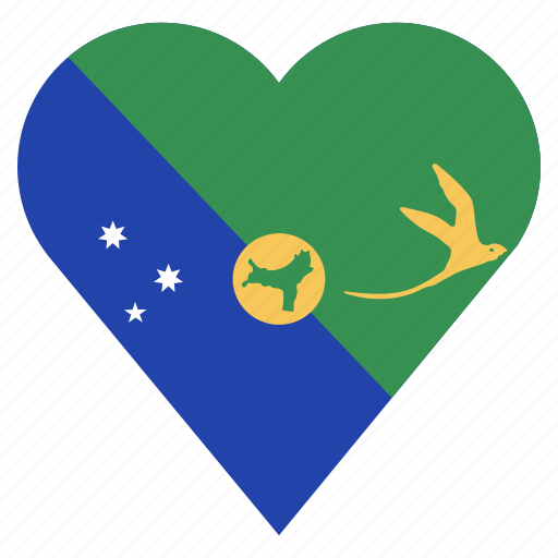 Christmas Island Flag.Country Flag Heart By P K