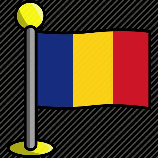 country, flag, flags, romania icon