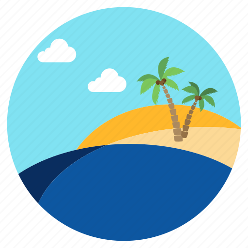beach, clouds, lake, palms, sea, water icon