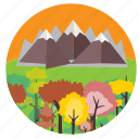 beautiful, hills, horizon, mountains, scene, trees icon