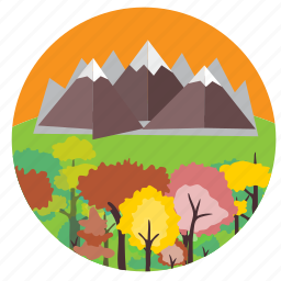 beautiful, hills, horizon, mountains, scene, trees icon