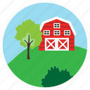 bushes, farm, tree, hill, house