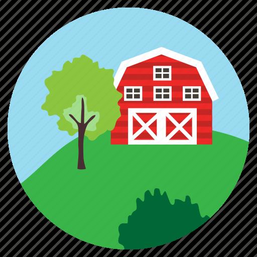 bushes, farm, hill, house, tree icon