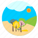 forest, sun, sunshine, trees icon