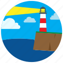 house, lake, light, lighthouse, sea, shore icon