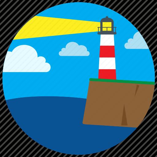 house, lake, light, lighthouse, sea, shore icon