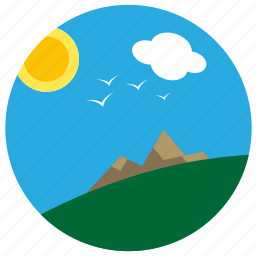 away, eagles, mountain, sunshine, view icon