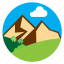 cloud, hills, horizon, mountains icon
