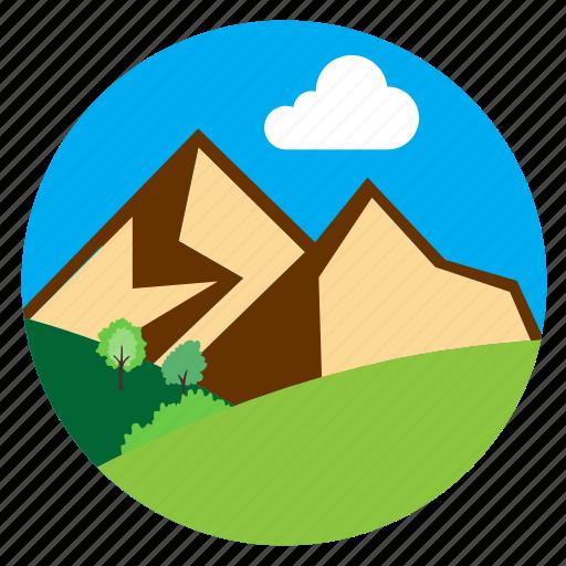 cloud, hills, horizon, mountains icon