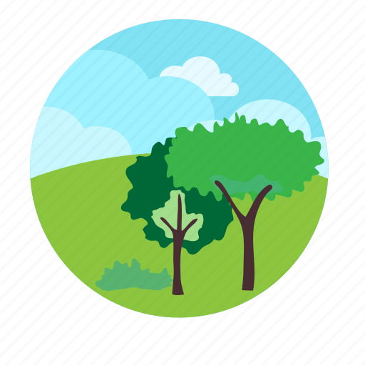 calm, hills, morning, over, the, trees icon
