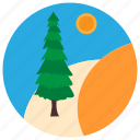 horizon, pine, sunset, tree icon