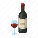 bottle, glass, red, sightseeing, spain, travel, wine icon