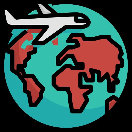 airplane, earth, globe, travel, vacation, world icon