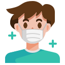 avatar, coronavirus, covid19, face, man, mask, sick icon