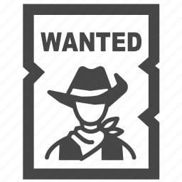 announce, cowboy, notice, placard, poster, wanted, wild wild west icon