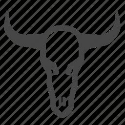 cow, dead, death, desert, skull, western, wild wild west icon