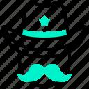 cowboy, head, moustache, prefect icon