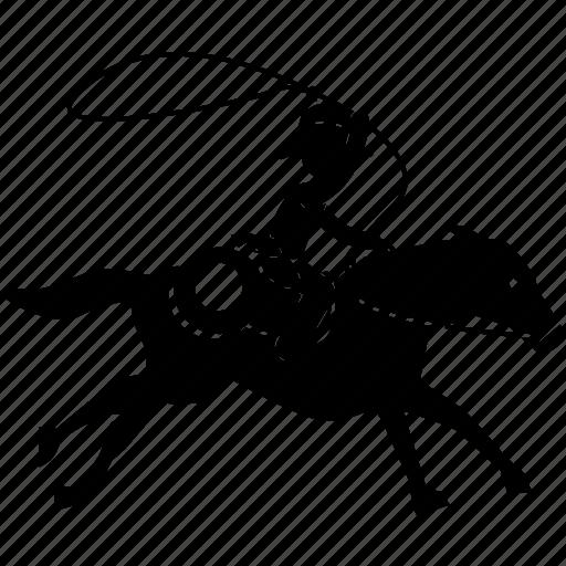 bulldogging, cowboy, horse, lasso, riding, rope, roping icon