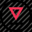 angle, down, triangle icon