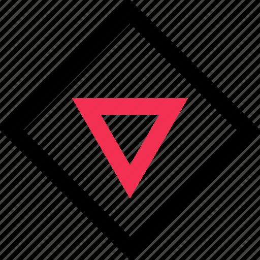 down, download, triangle icon