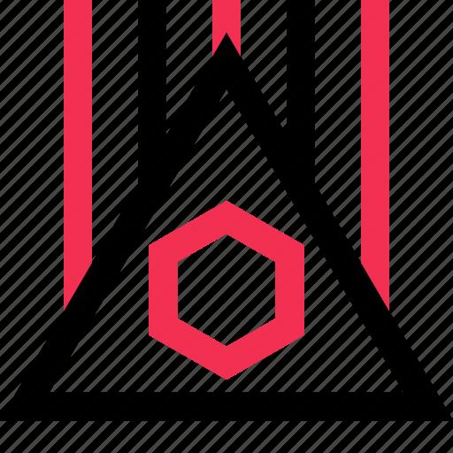 hexagon, lines, triangle icon