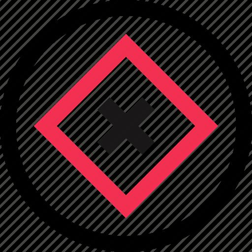 cube, delte, x icon