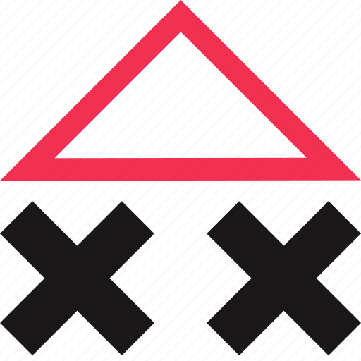 triangle, up, x icon