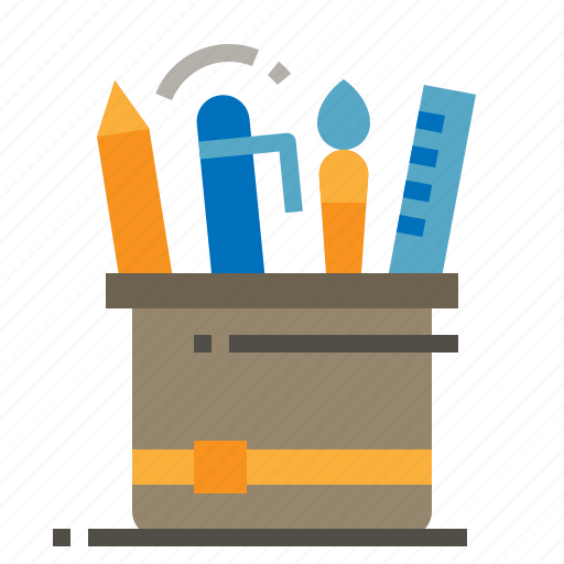 Brush, pen, pencil, ruler, stationary icon - Download on Iconfinder