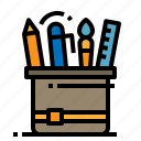 brush, pen, pencil, ruler, stationary icon