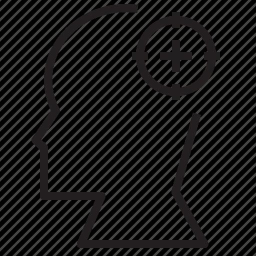 female, head, human, male, profile, target icon