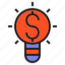 banking, bulb, credit, lamp, light, money icon