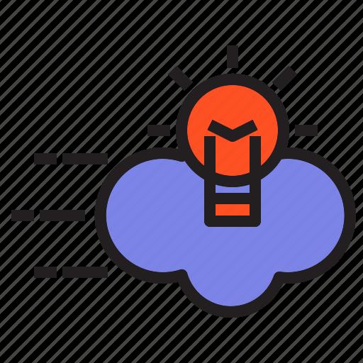 bulb, cloud, cloudy, light, server, speed, sun icon