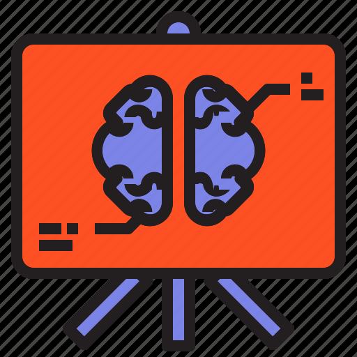 board, brain, chart, head, plan, presentation icon