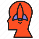 head, human, launch, rocket, socket, spaceship icon